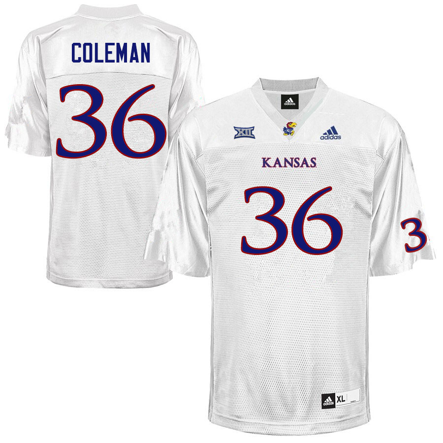 Men #36 Bryce Coleman Kansas Jayhawks College Football Jerseys Sale-White