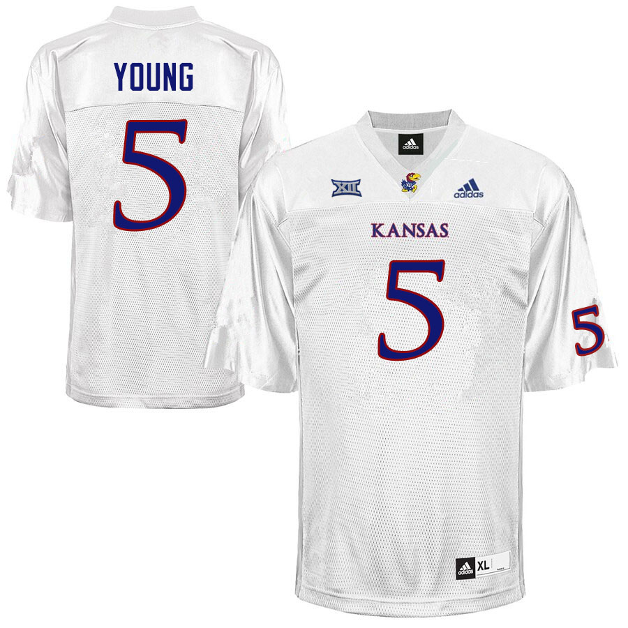 Men #5 Christian Young Kansas Jayhawks College Football Jerseys Sale-White