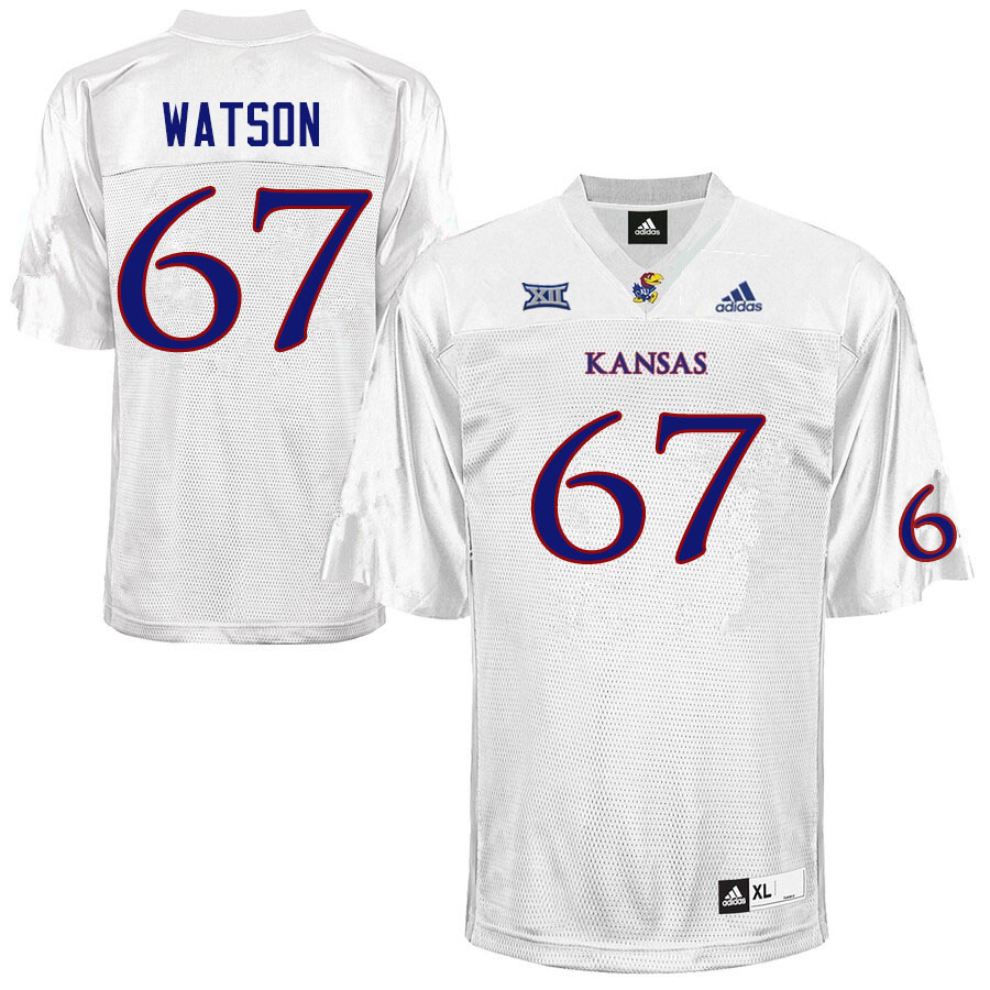Men #67 David Watson Kansas Jayhawks College Football Jerseys Sale-White