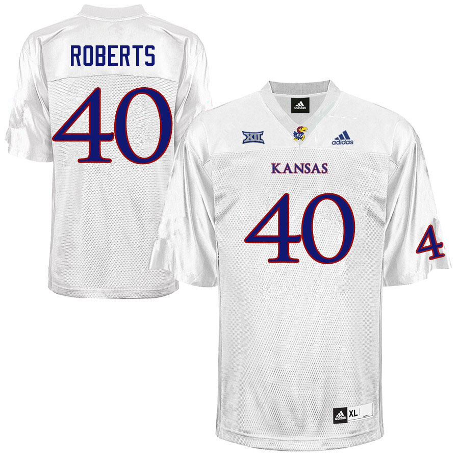 Men #40 Eric Roberts Kansas Jayhawks College Football Jerseys Sale-White