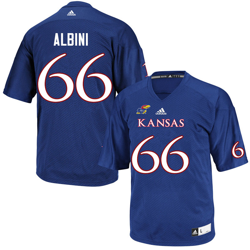 Men #66 Geno Albini Kansas Jayhawks College Football Jerseys Sale-Royal