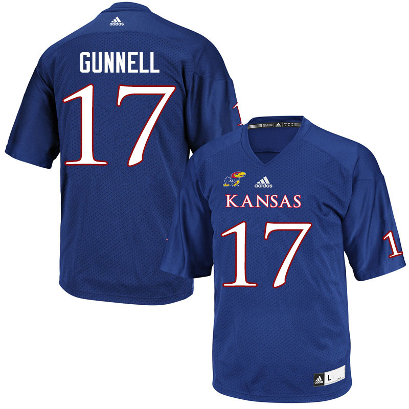 Men #17 Grant Gunnell Kansas Jayhawks College Football Jerseys Sale-Royal