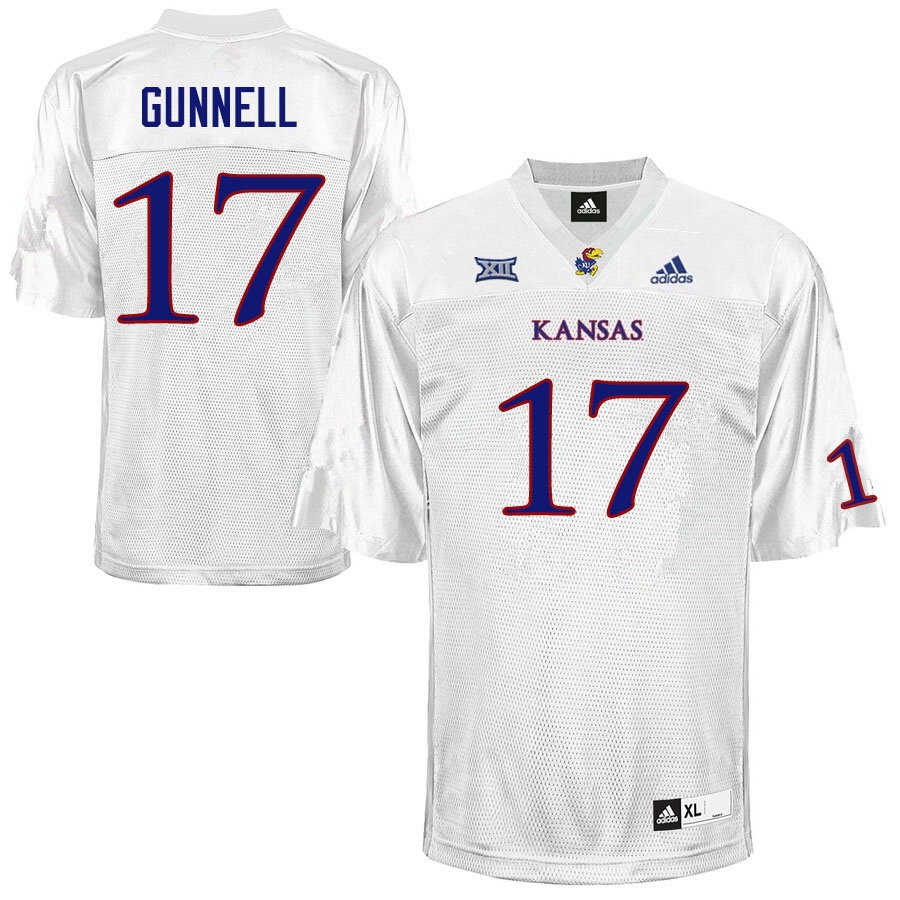 Men #17 Grant Gunnell Kansas Jayhawks College Football Jerseys Sale-White