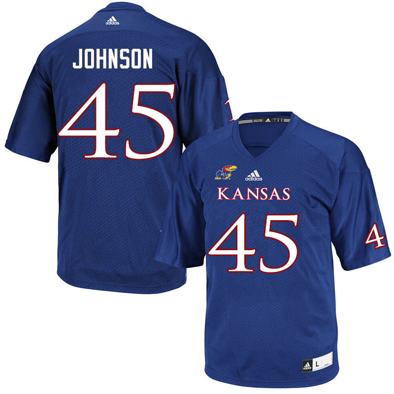 Men #45 Issaiah Johnson Kansas Jayhawks College Football Jerseys Sale-Royal