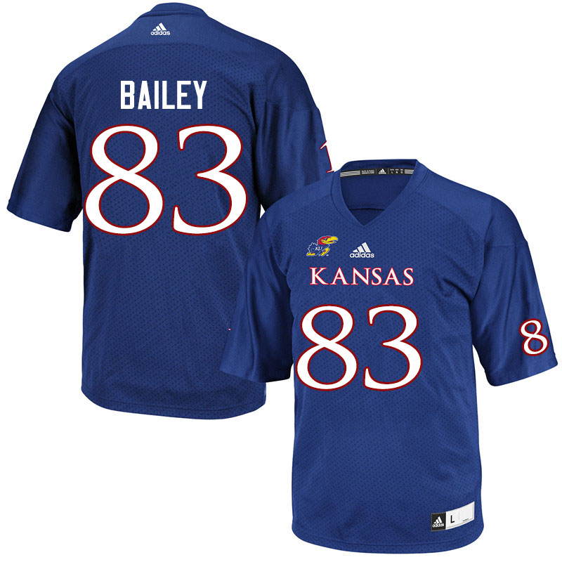 Men #83 Jailen Bailey Kansas Jayhawks College Football Jerseys Sale-Royal