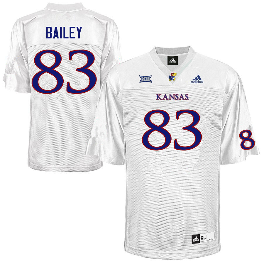 Men #83 Jailen Bailey Kansas Jayhawks College Football Jerseys Sale-White