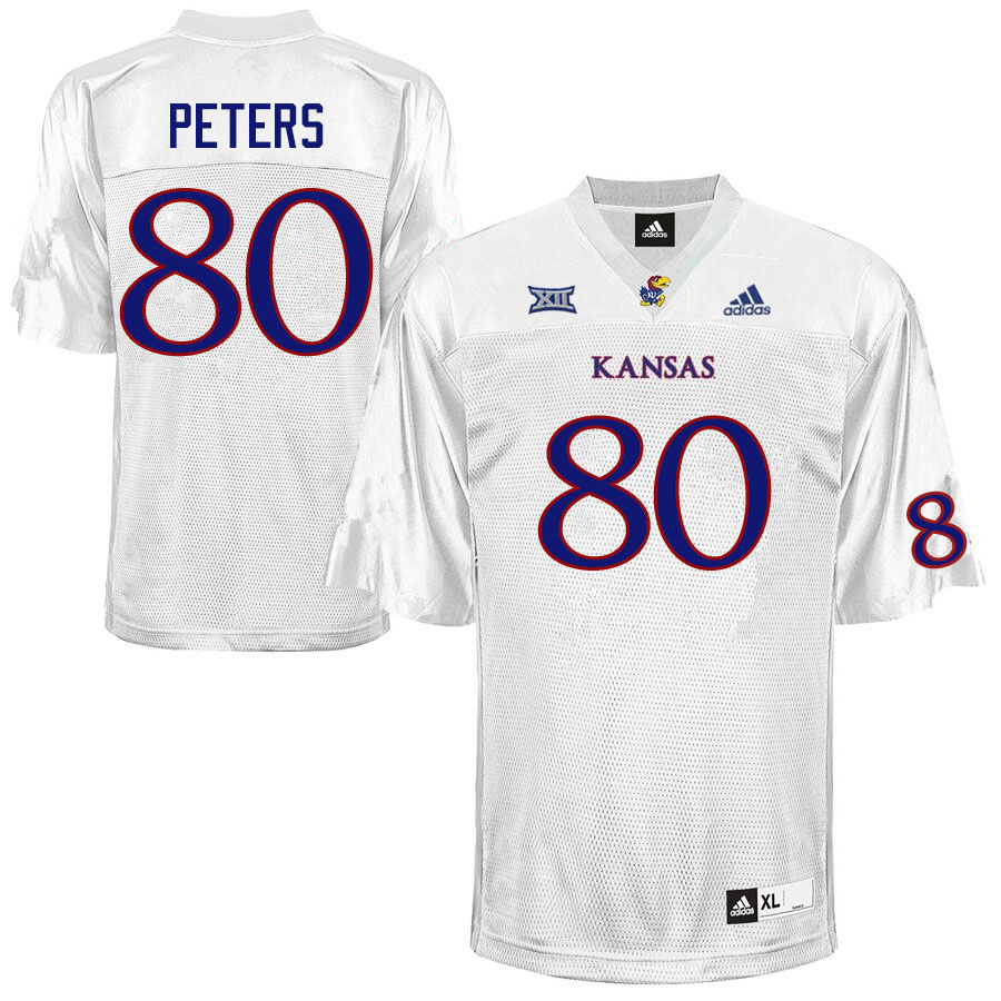 Men #80 Jake Peters Kansas Jayhawks College Football Jerseys Sale-White