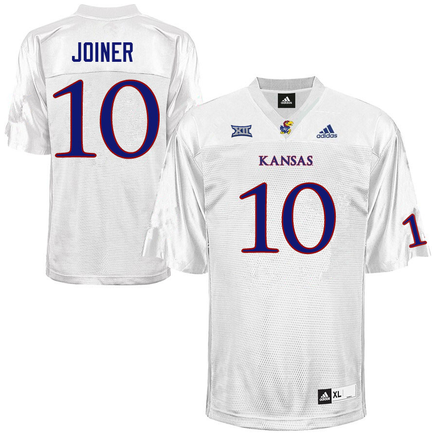 Men #10 Jamarye Joiner Kansas Jayhawks College Football Jerseys Sale-White