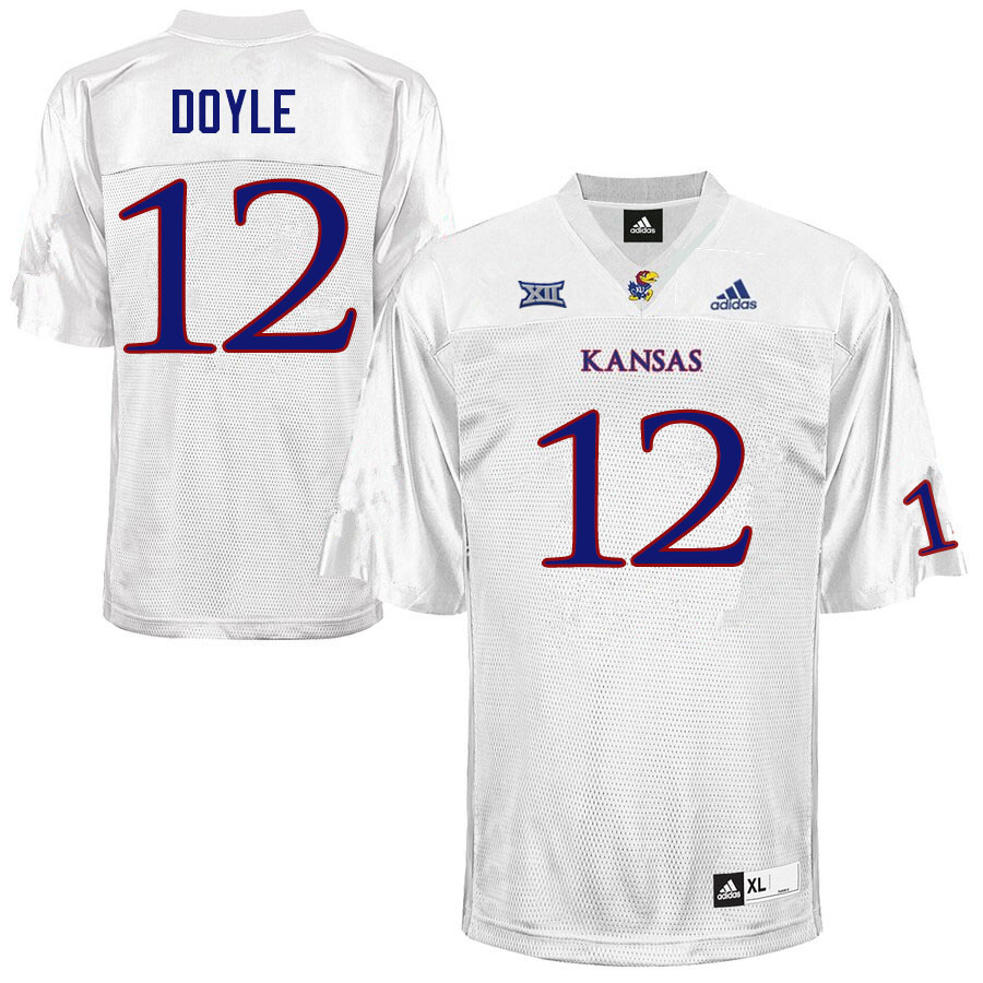 Men #12 Kevin Doyle Kansas Jayhawks College Football Jerseys Sale-White