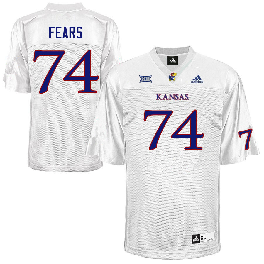 Men #74 Paiton Fears Kansas Jayhawks College Football Jerseys Sale-White