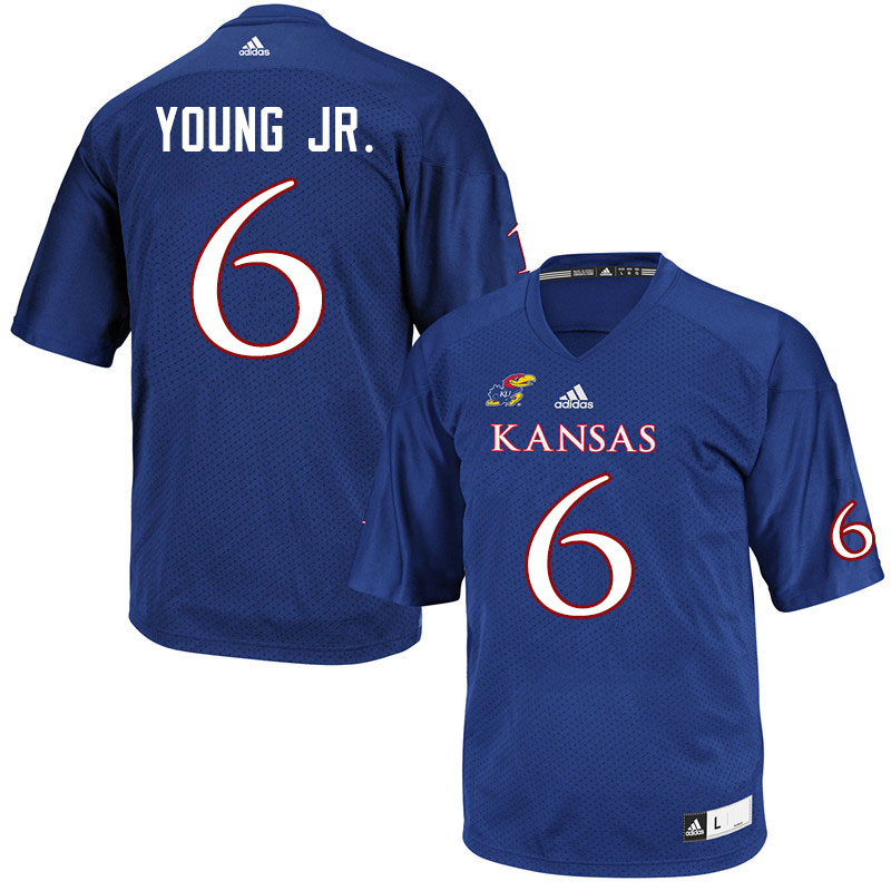 Men #6 Scottie Young Jr. Kansas Jayhawks College Football Jerseys Sale-Royal
