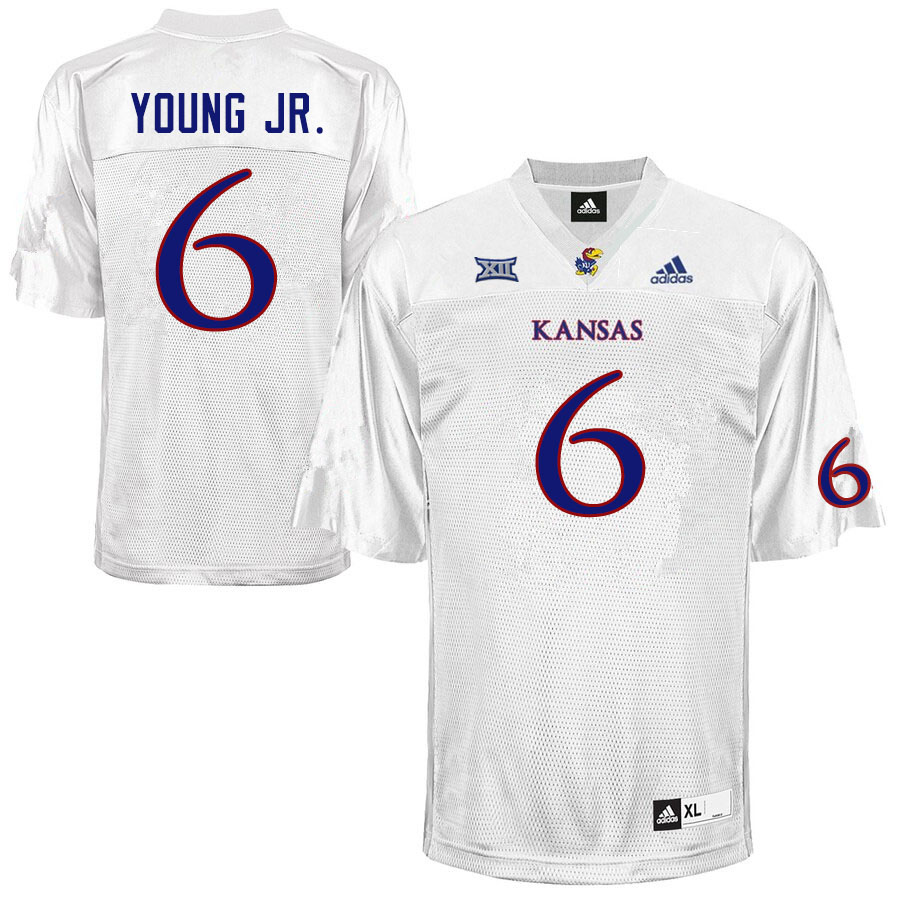 Men #6 Scottie Young Jr. Kansas Jayhawks College Football Jerseys Sale-White
