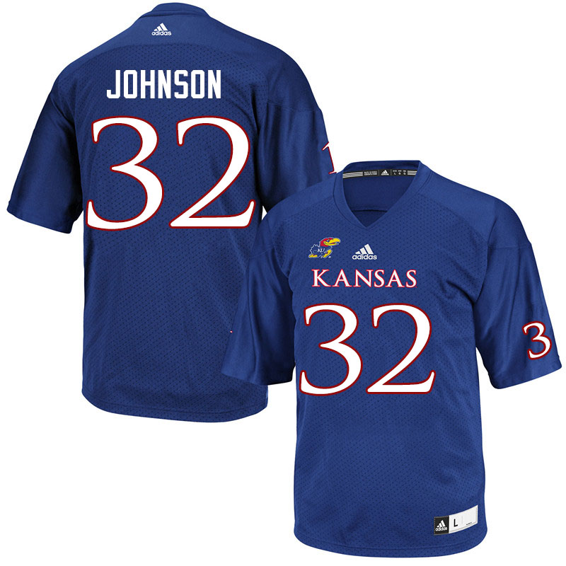 Men #32 Terrence Johnson Kansas Jayhawks College Football Jerseys Sale-Royal
