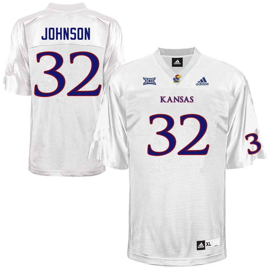 Men #32 Terrence Johnson Kansas Jayhawks College Football Jerseys Sale-White