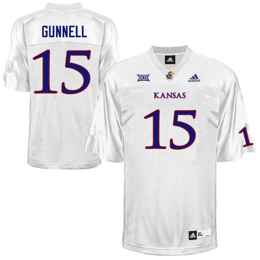 Men #15 William Gunnell Kansas Jayhawks College Football Jerseys Sale-White