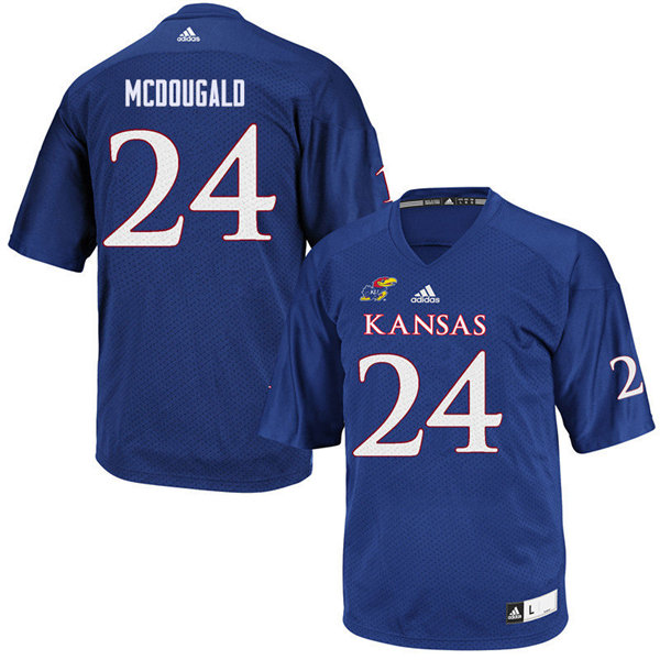 Men #24 Bradley McDougald Kansas Jayhawks College Football Jerseys Sale-Royal