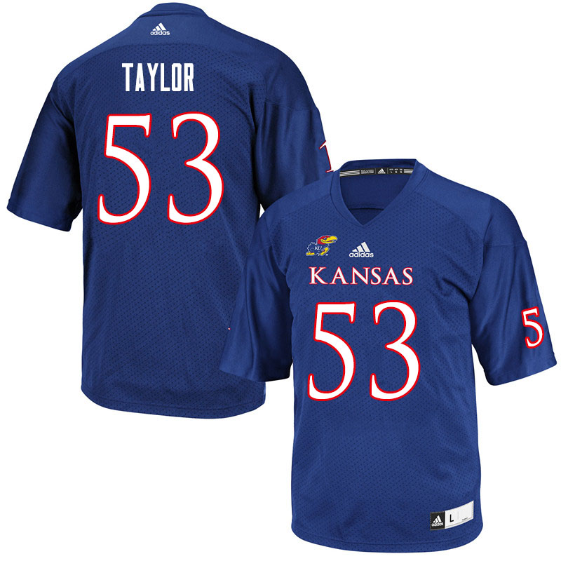 Men #53 Caleb Taylor Kansas Jayhawks College Football Jerseys Sale-Royal