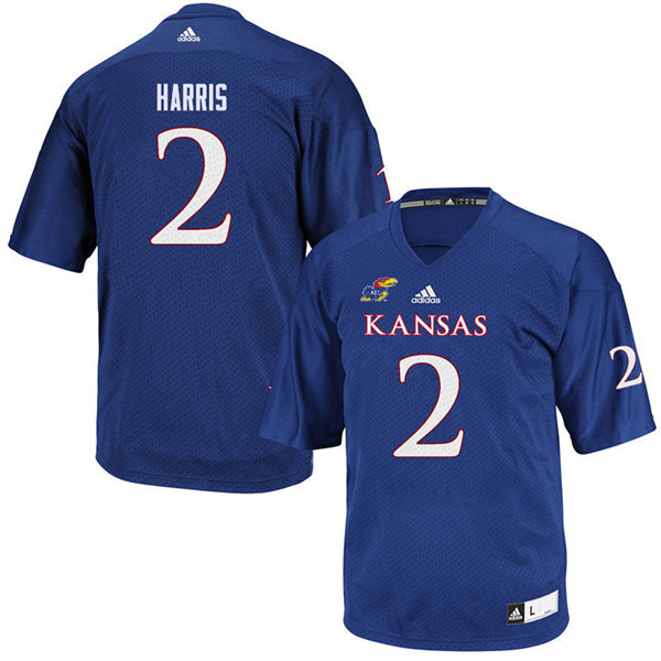 Men #2 Corione Harris Kansas Jayhawks College Football Jerseys Sale-Royal