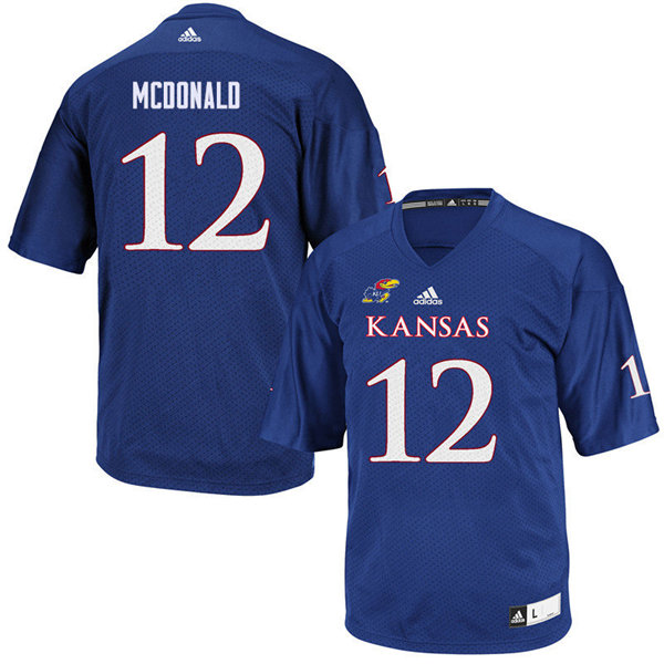 Men #12 Dexter McDonald Kansas Jayhawks College Football Jerseys Sale-Royal
