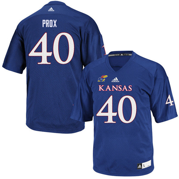 Men #40 Dru Prox Kansas Jayhawks College Football Jerseys Sale-Royal