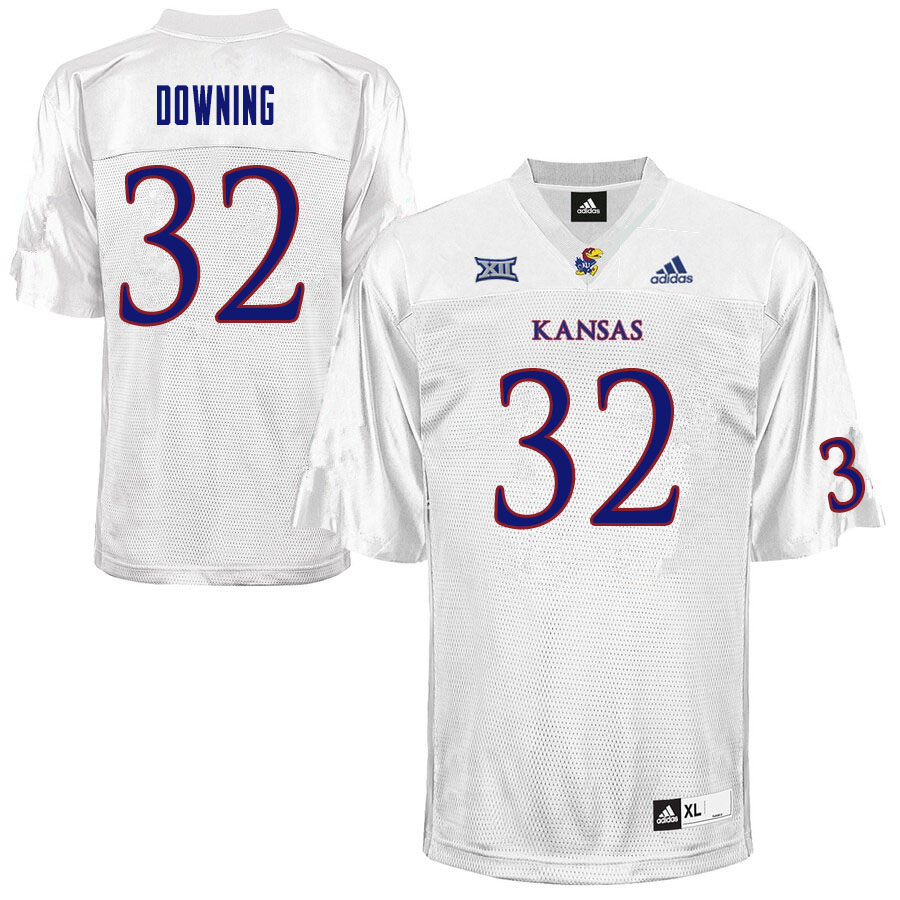 Men #32 Dylan Downing Kansas Jayhawks College Football Jerseys Sale-White