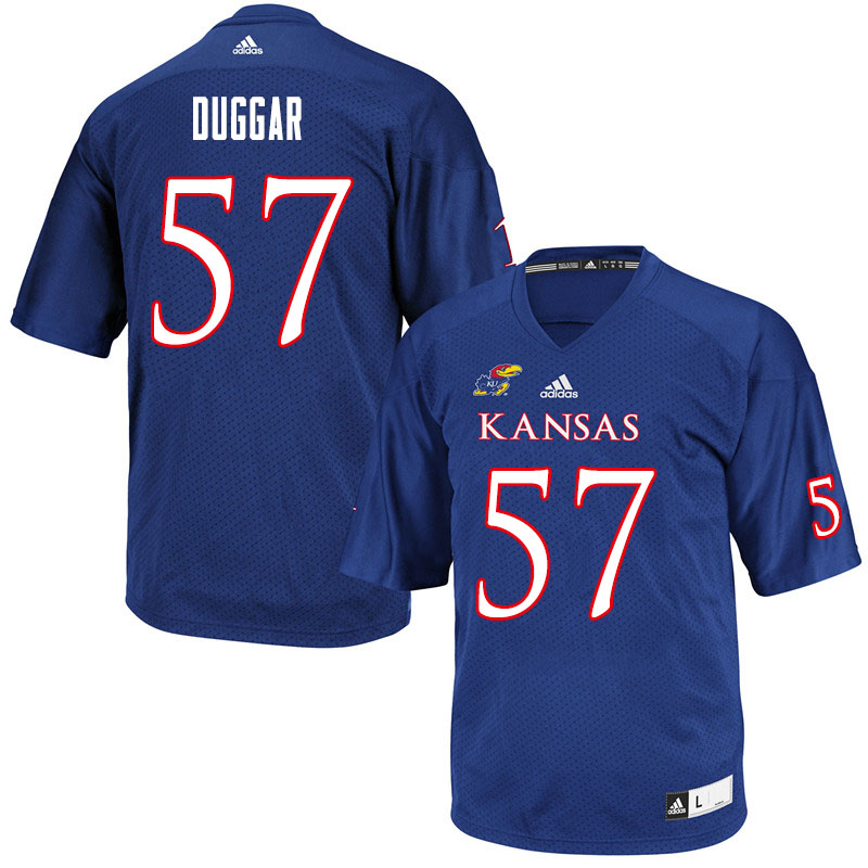 Men #57 Emory Duggar Kansas Jayhawks College Football Jerseys Sale-Royal