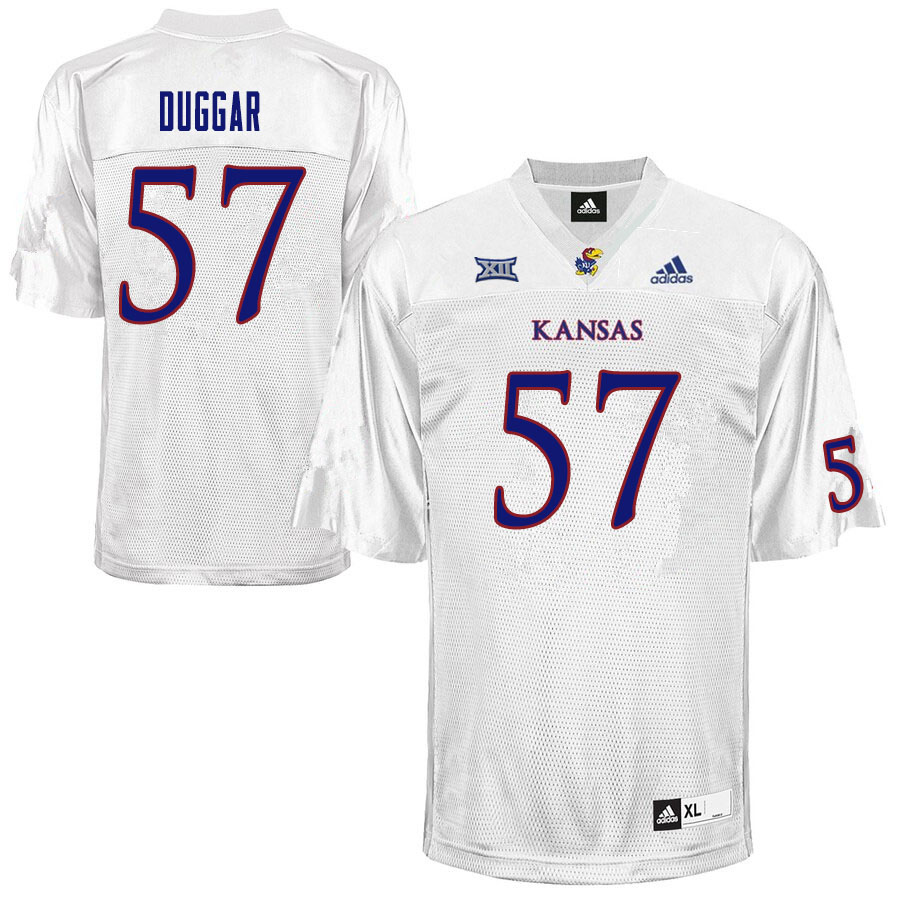 Men #57 Emory Duggar Kansas Jayhawks College Football Jerseys Sale-White