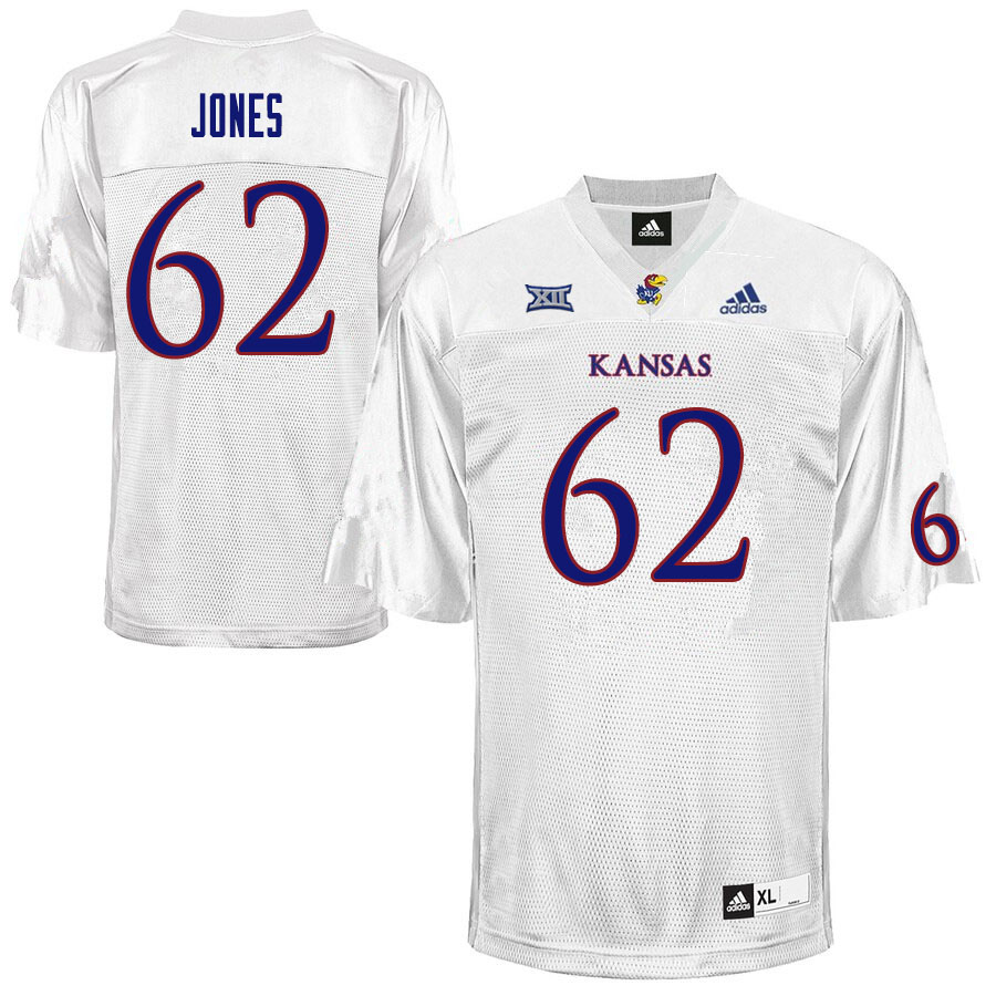Men #62 Garrett Jones Kansas Jayhawks College Football Jerseys Sale-White
