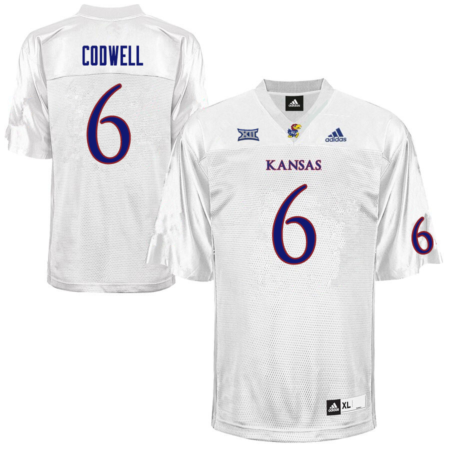 Men #6 Jack Codwell Kansas Jayhawks College Football Jerseys Sale-White