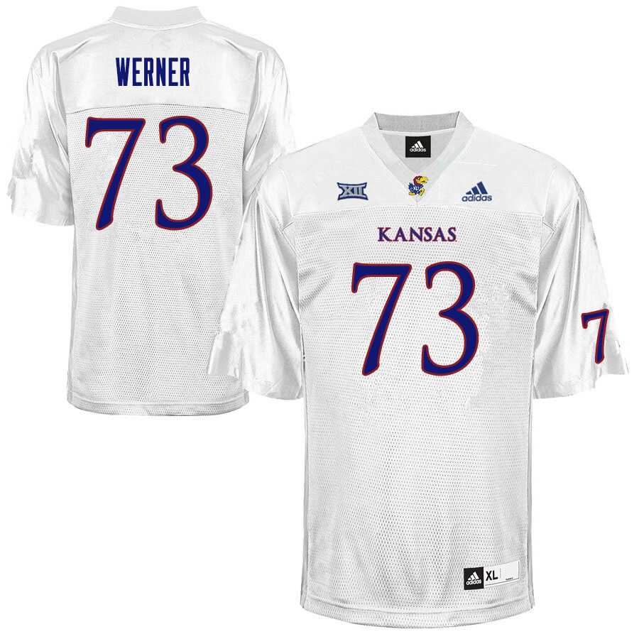 Men #73 Jack Werner Kansas Jayhawks College Football Jerseys Sale-White