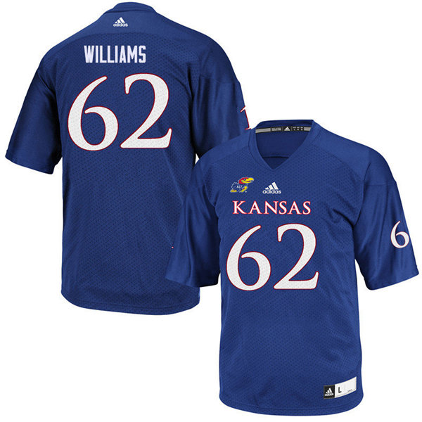 Men #62 Jack Williams Kansas Jayhawks College Football Jerseys Sale-Royal