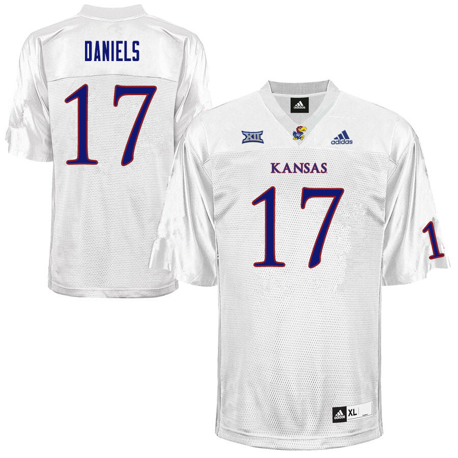 Men #17 Jalon Daniels Kansas Jayhawks College Football Jerseys Sale-White