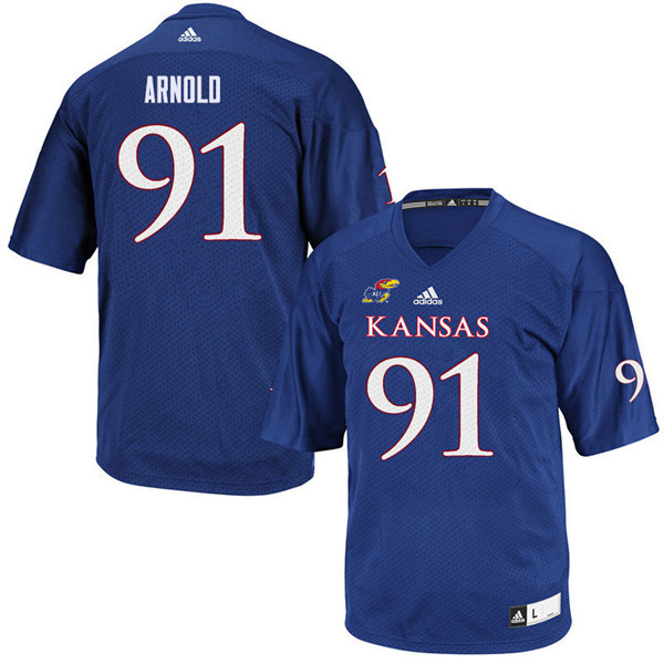Men #91 Jelani Arnold Kansas Jayhawks College Football Jerseys Sale-Royal