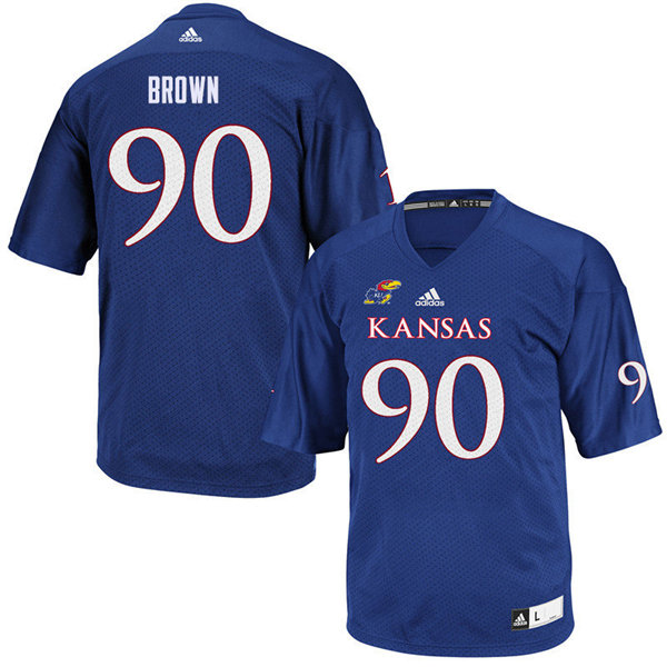 Men #90 Jelani Brown Kansas Jayhawks College Football Jerseys Sale-Royal