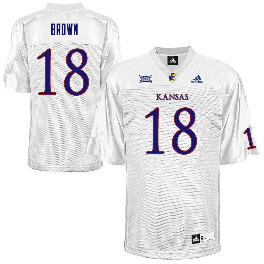Men #18 Jordan Brown Kansas Jayhawks College Football Jerseys Sale-White
