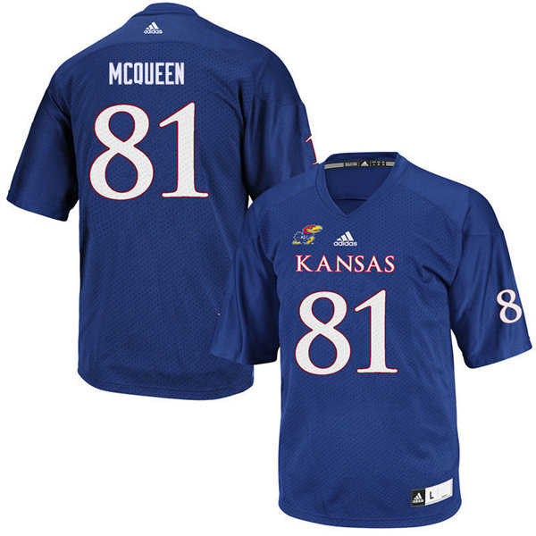 Men #81 Kameron McQueen Kansas Jayhawks College Football Jerseys Sale-Royal