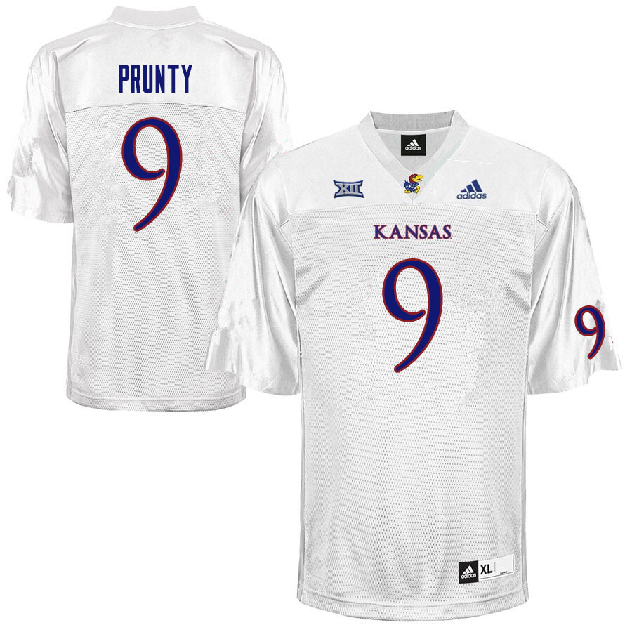 Men #9 Karon Prunty Kansas Jayhawks College Football Jerseys Sale-White