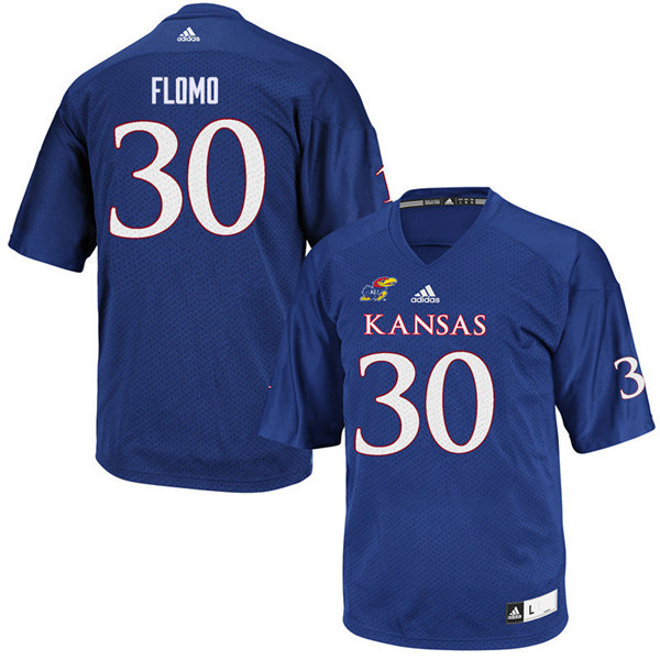 Men #30 Kezelee Flomo Kansas Jayhawks College Football Jerseys Sale-Royal