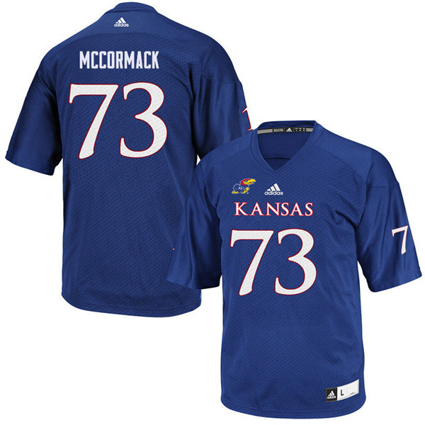 Men #73 Mike McCormack Kansas Jayhawks College Football Jerseys Sale-Royal