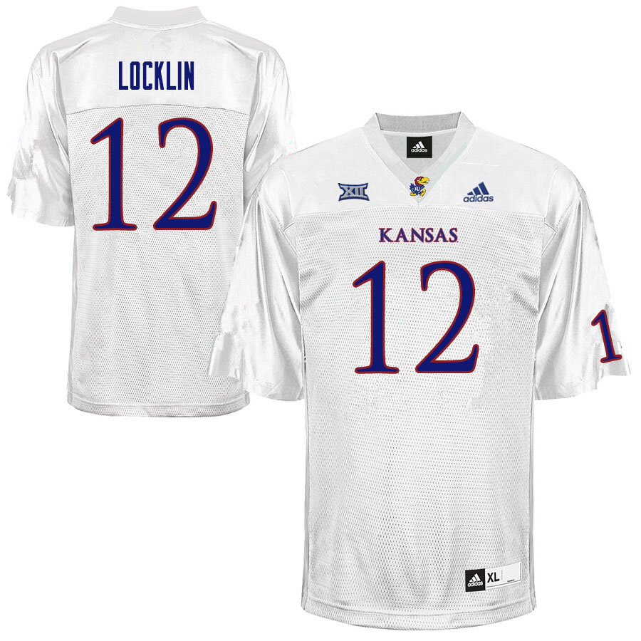 Men #12 Torry Locklin Kansas Jayhawks College Football Jerseys Sale-White