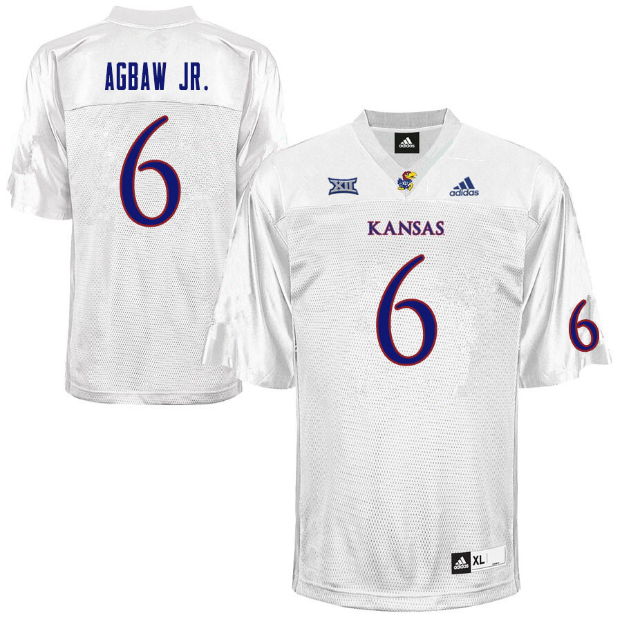 Men #6 Valerian Agbaw Jr. Kansas Jayhawks College Football Jerseys Sale-White