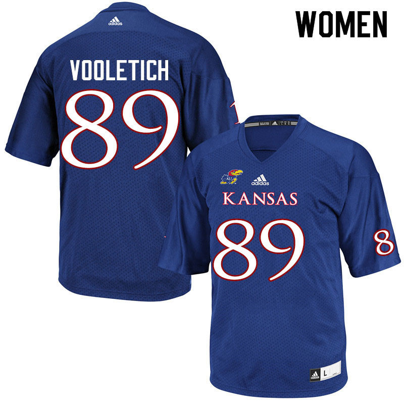 Women #89 Brice Vooletich Kansas Jayhawks College Football Jerseys Sale-Royal