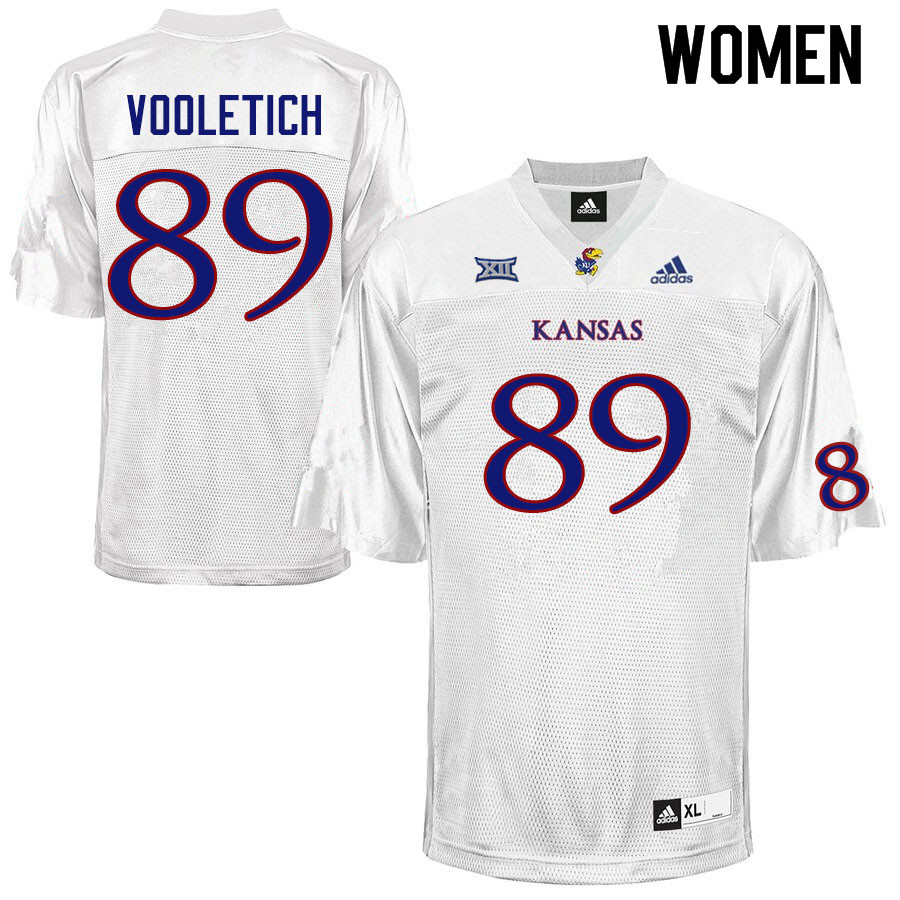 Women #89 Brice Vooletich Kansas Jayhawks College Football Jerseys Sale-White