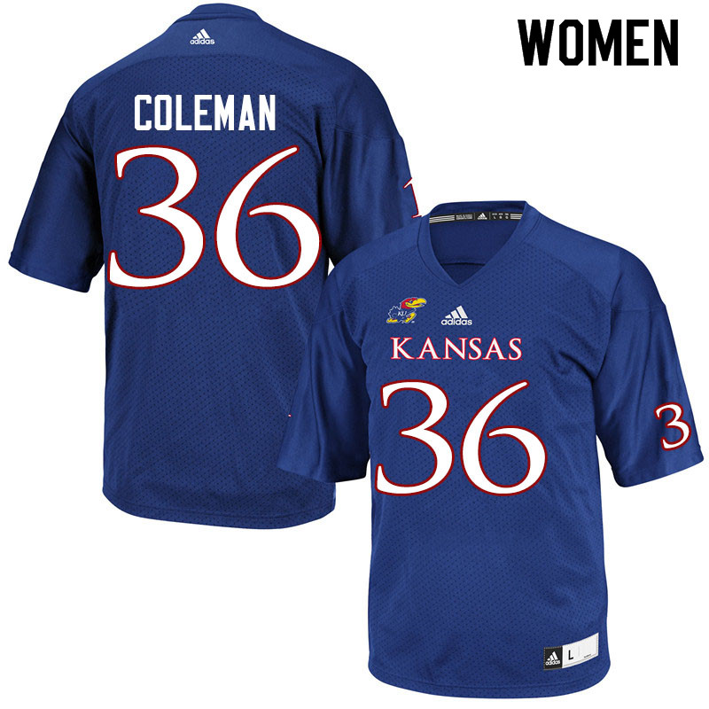 Women #36 Bryce Coleman Kansas Jayhawks College Football Jerseys Sale-Royal