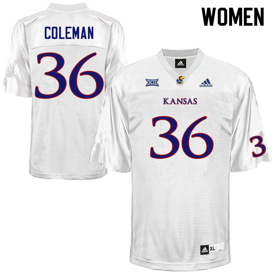 Women #36 Bryce Coleman Kansas Jayhawks College Football Jerseys Sale-White