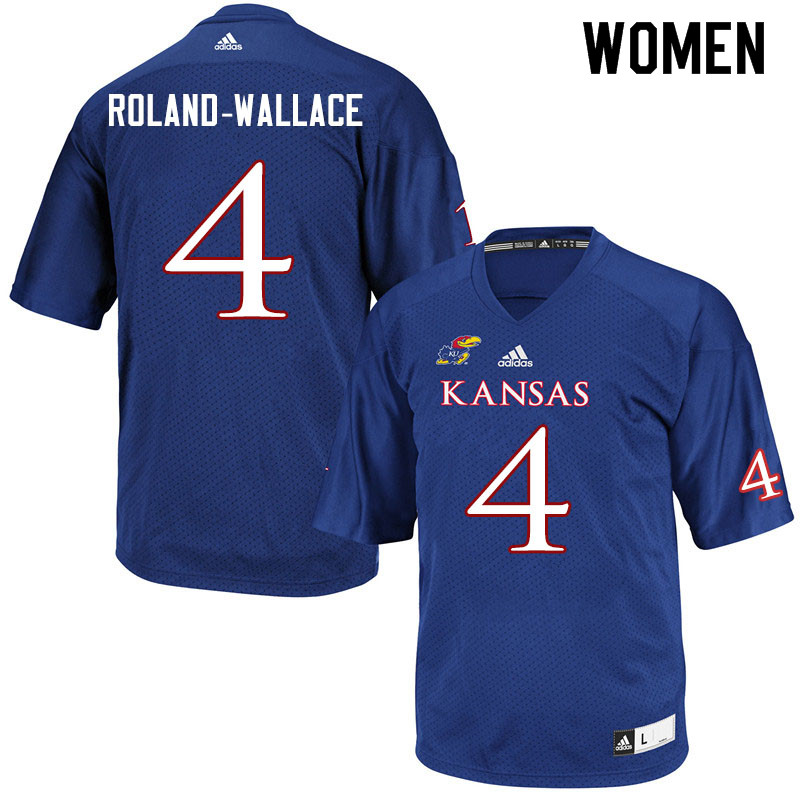 Women #4 Christian Roland-Wallace Kansas Jayhawks College Football Jerseys Sale-Royal
