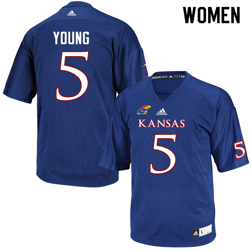 Women #5 Christian Young Kansas Jayhawks College Football Jerseys Sale-Royal