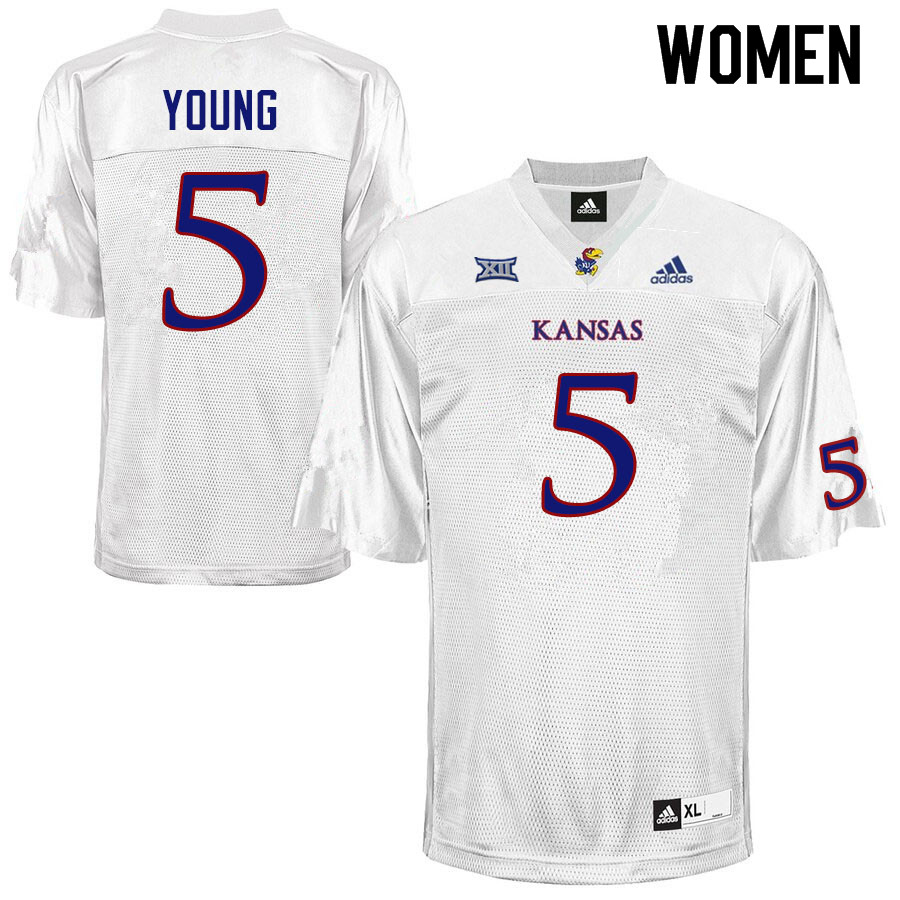 Women #5 Christian Young Kansas Jayhawks College Football Jerseys Sale-White