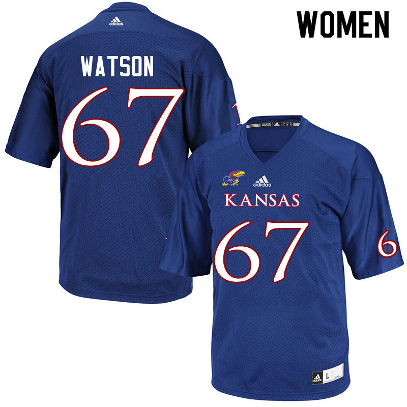 Women #67 David Watson Kansas Jayhawks College Football Jerseys Sale-Royal