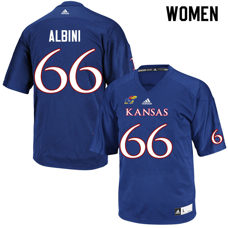 Women #66 Geno Albini Kansas Jayhawks College Football Jerseys Sale-Royal